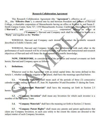 sample research collaboration agreement