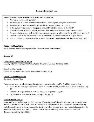 sample research log format
