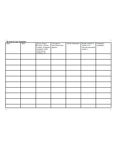 sample research log template