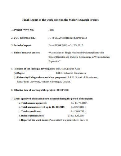 sample research project final report