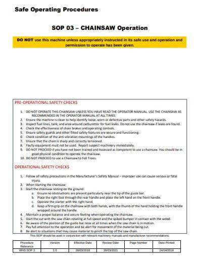 sample safe operating procedures