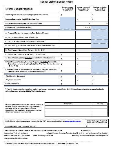 sample school budget proposal