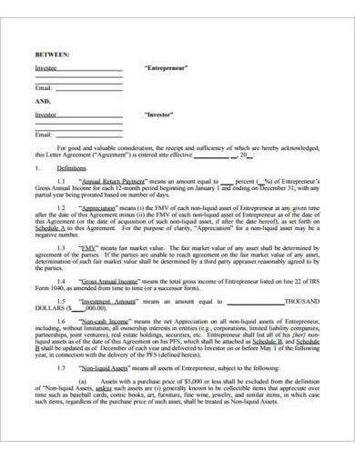 sample small business investment agreement