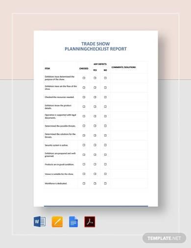 sample trade show planning checklist