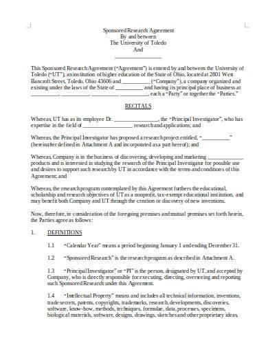 sample university sponsored research agreement