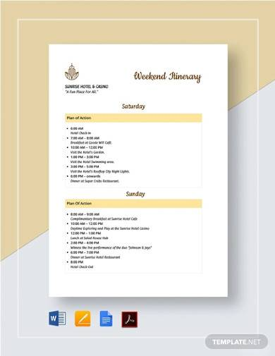 sample weekend itinerary template