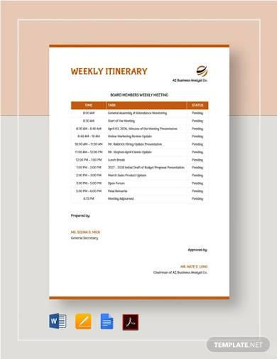 sample weekly itinerary template