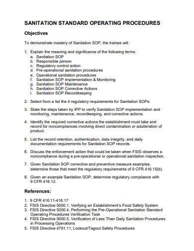 sanitation standard operating procedures