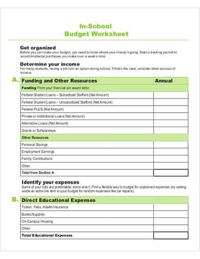 school budget worksheet sample