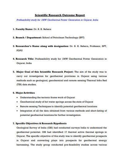 scientific research outcome report