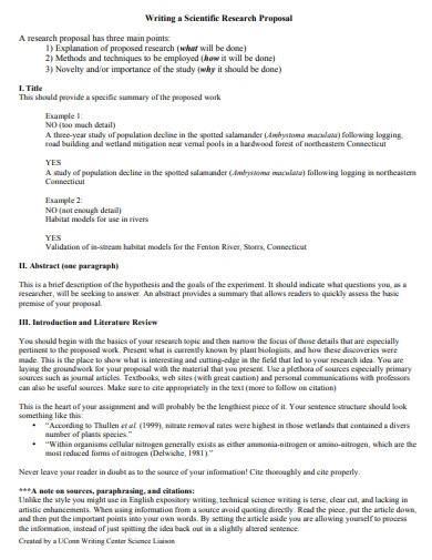 scientific research proposal format
