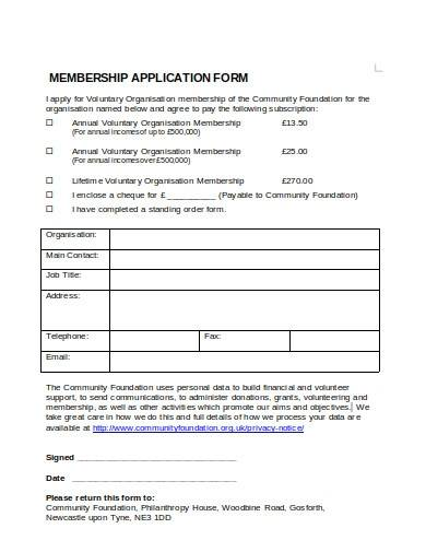 simple charity membership form