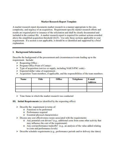 simple market research report template