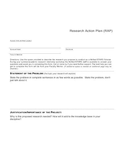 simple research action plan template