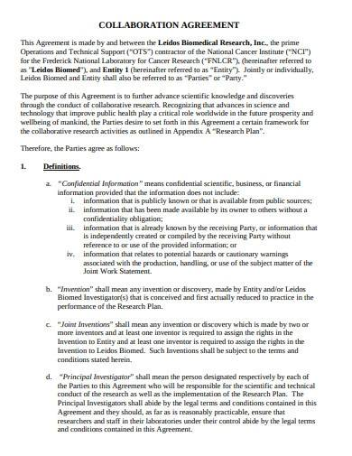 simple research collaboration agreement
