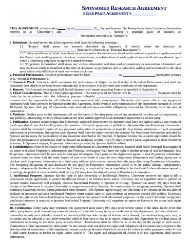 simple sponsored research agreement