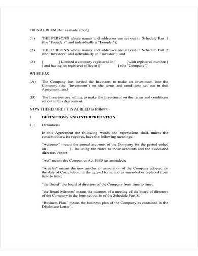 small business investment agreement sample