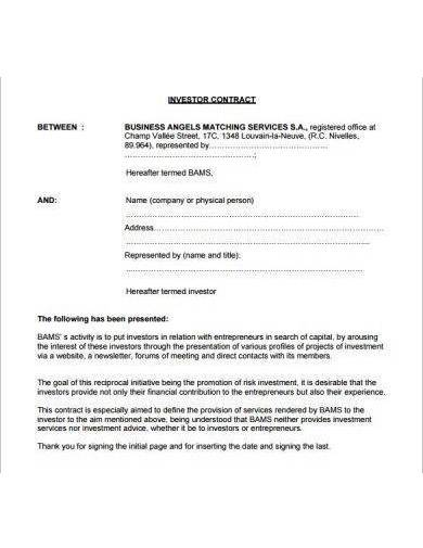 small business investor contract