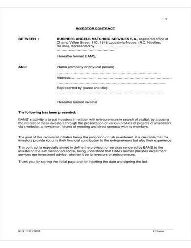 small investor contract sample