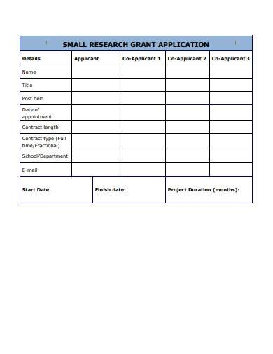 small research grant application