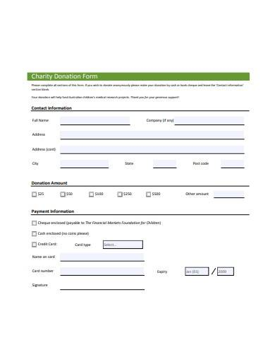 standard charity donation form