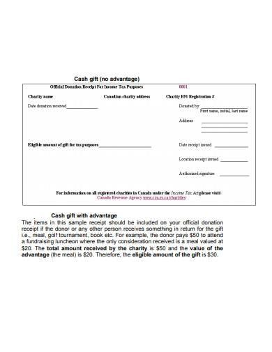 standard charity donation receipt