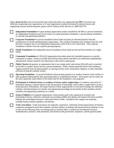 standard charity questionnaire template