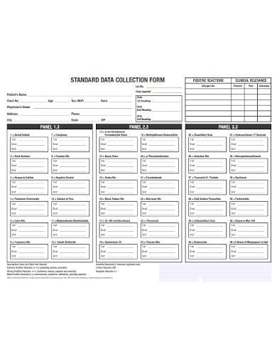 standard data collection form