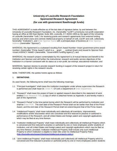 standard sponsored research agreement