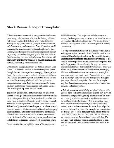 stock research report template