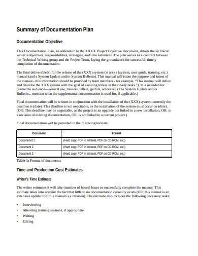 summary of documentation plan