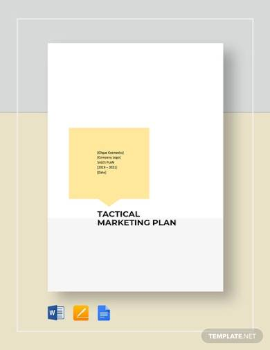 tactical marketing plan template