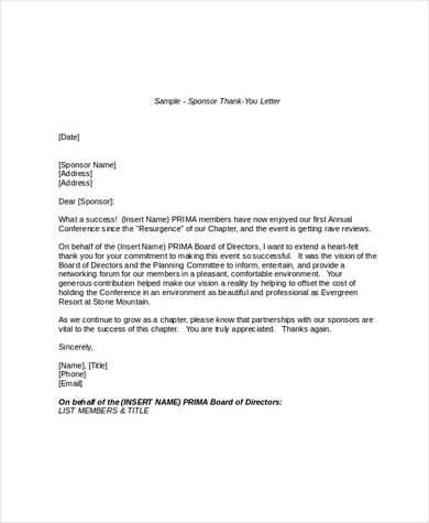 thank you letter for sponsorship donation