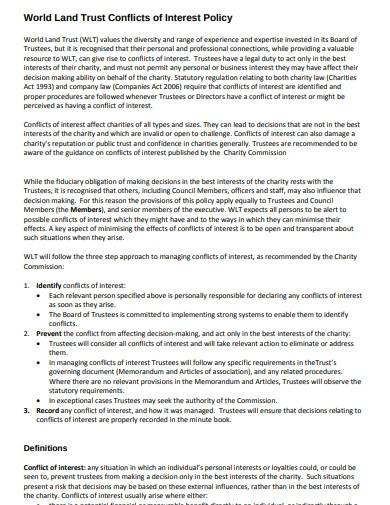 trust conflicts of interest policy template