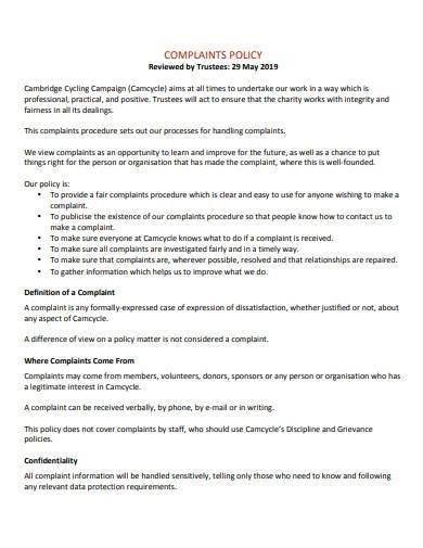 trustee's complaints procedure policy template