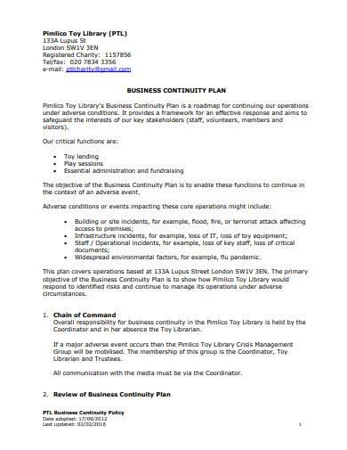 trustee business continuity plan