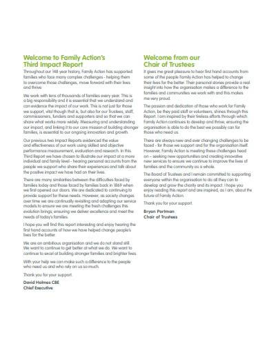 trustee impact report template