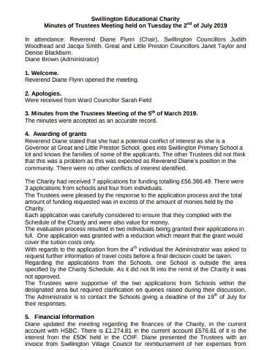 trustee meeting minutes template