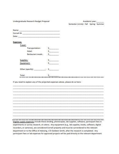undergraduate research budget proposal