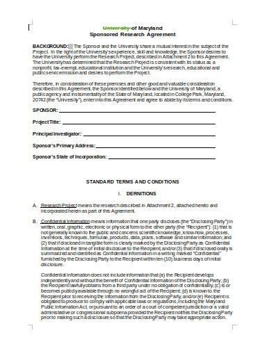 university sponsored research agreement