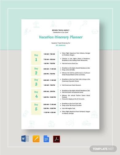 vacation itinerary sample