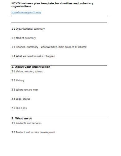 voluntary charities business plan