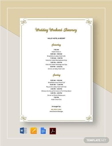 wedding weekend itinerary sample