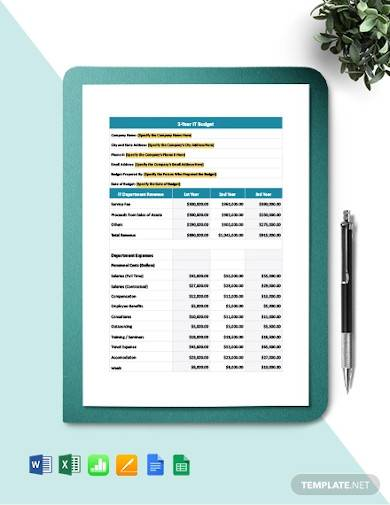 3 year it project budget template