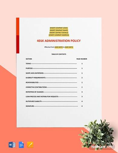401k administration policy template