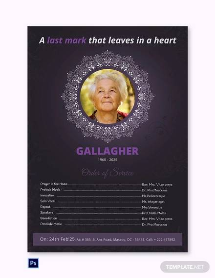 a3 funeral program poster sample