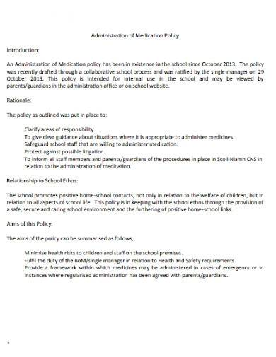 administration of medication policy template
