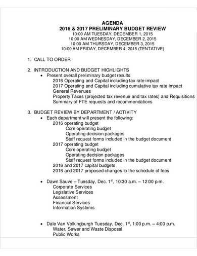 agenda preliminary budget review