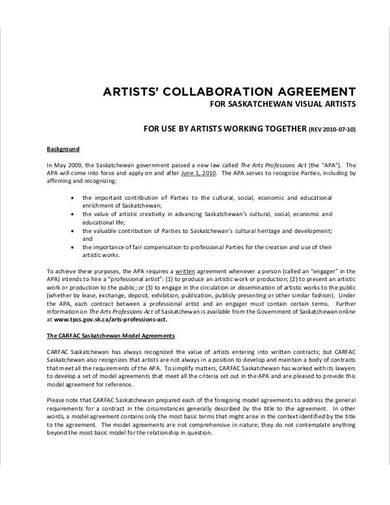 artists collaboration agreement sample