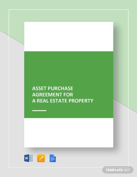 asset purchase agreement for a real estate property template